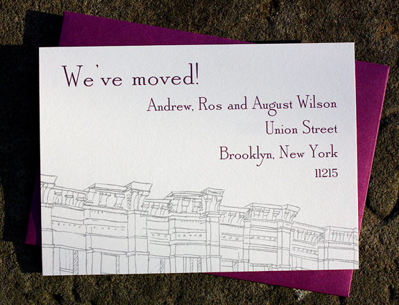 Wilson: Third Street moving card in pewter and eggplant inks with beet envelope