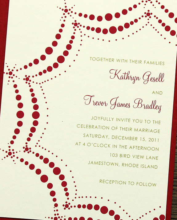 Kathryn and Trevor: Boerum Hill digitally printed in cranberry and willow inks