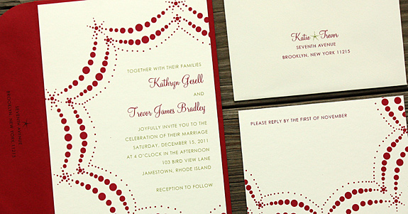 Kathryn and Trevor: Boerum Hill digitally printed in cranberry and willow inks with red envelopes