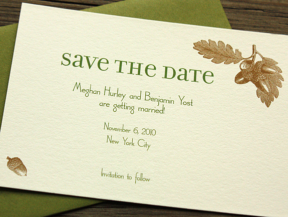 Meghan and Benjamin: Fort Greene save the date digitally printed in espresso and moss with moss envelope