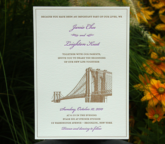 Janie and Leighton: Vinegar Hill custom invitation letterpress printed in chocolate and lavender inks on 300 gsm paper