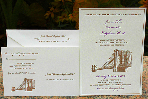 Janie and Leighton: Vinegar Hill custom invitation and rsvp letterpress printed in chocolate and lavender inks on soft white 300 gsm paper
