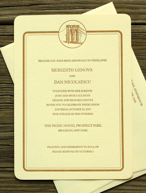 Meredith and Dan: Medallion-Bridge, custom letterpress printed in copper ink on soft white 300 gsm paper