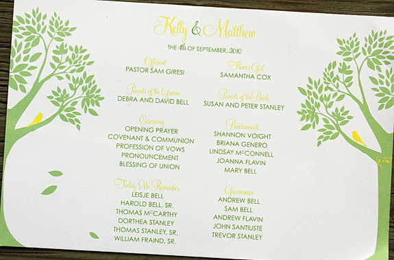 Kelly and Matthew: Montague St. program digitally printed with custom colors and layout