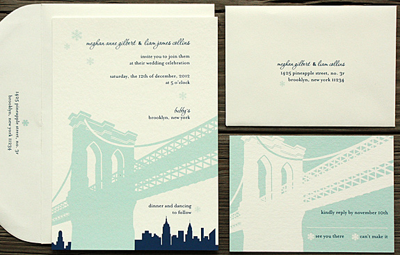 Meghan and Liam: Pineapple Street digitally printed in turquoise and navy with white envelope