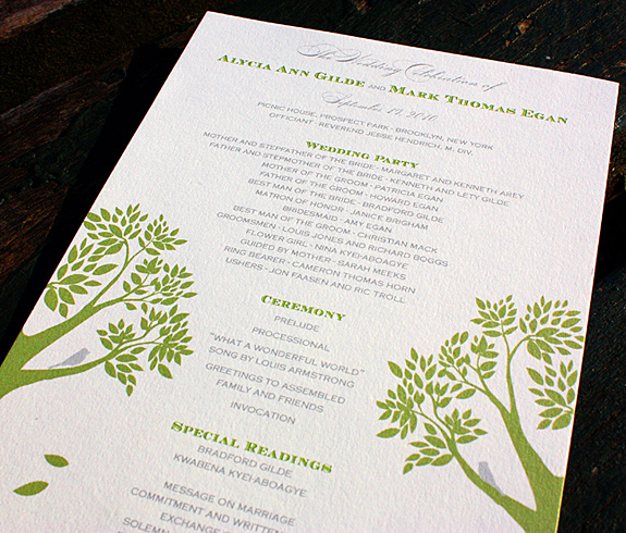 Alycia and Mark: Montague Street, custom program in willow and pewter, digitally printed