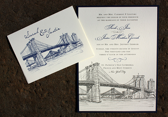 Sarah and Justin: Seaport thank you card and invite with custom navy blue backer, custom layout, fonts and inks, thermography printed