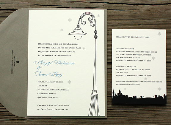 Hagop and Aram: customized to combine York St image on invite and Riverside Drive on rsvp, digitally printed in royal, black and pewter