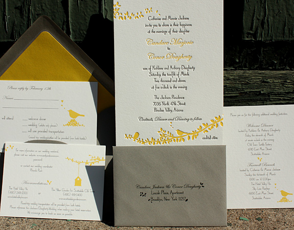 Candace and Conor: Gramercy Park, invitation letterpressed and all other pieces digitally printed, squash and custom color with gravel envelopes