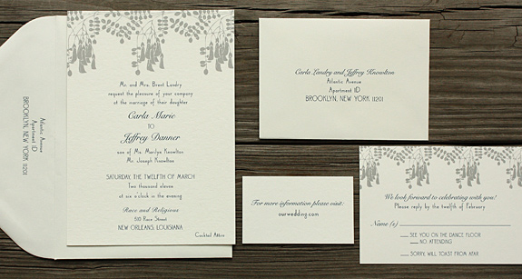 Carla and Jeffrey: Montgomery Place, navy and pewter inks, digitally printed with white envelopes