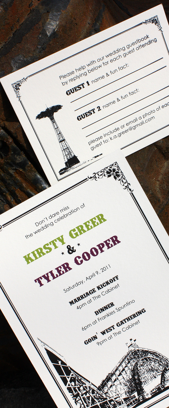 Kirsty and Tyler: Coney Island Avenue digitally printed in willow, black and eggplant with custom fonts