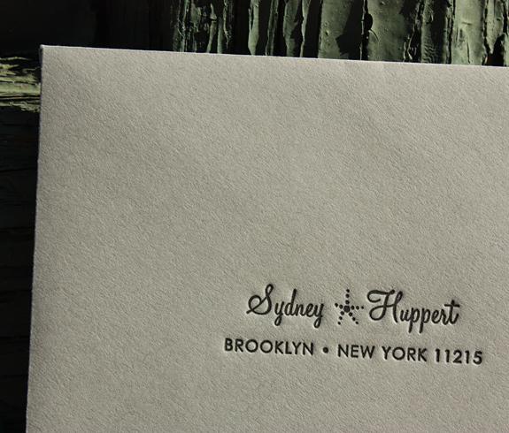 Sidney: Boerum Hill envelope, letterpress printed in black ink