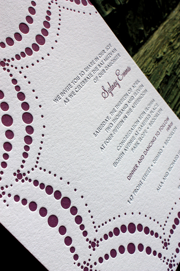 Sydney: Boerum Hill, letterpress printed invitation in pewter and eggplant