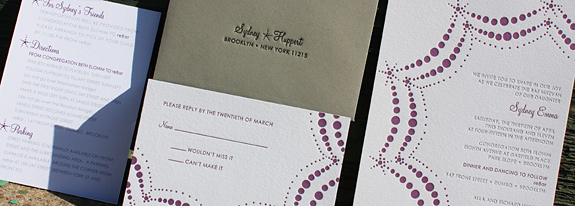 Sydney: Boerum Hill, letterpress printed invitation and rsvp on bright white paper, digitally printed enclosure card in pewter and eggplant inks, with gravel rsvp envelope