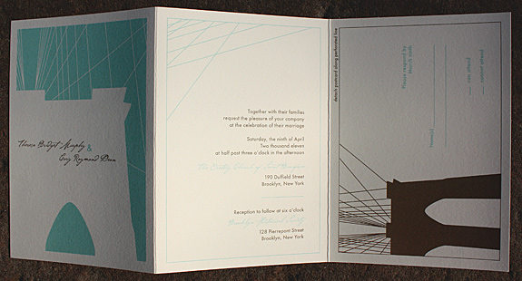 Theresa and Cory: Fulton Street, custom tri-fold, digitally printed in turquoise and gold