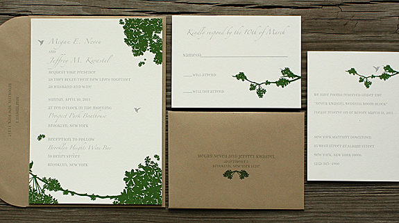 Megan and Jeffrey: Prospect Park, digitally printed in moss and pewter ink, with khaki envelopes