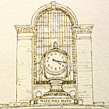 Joanna and Chris: Grand Central Station clock, silhouettes theme, custom illustration die cut, flat printed