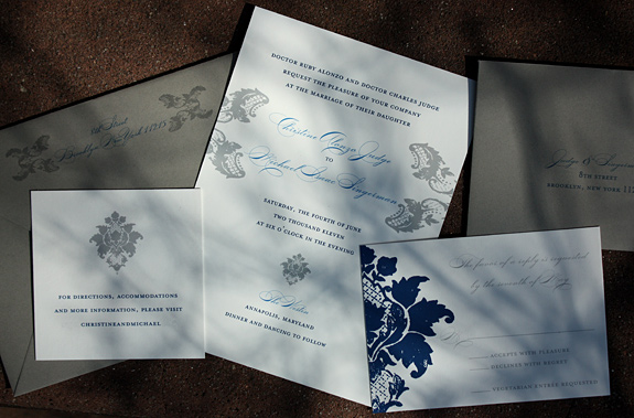 Christine and Michael: Clinton Hill, digitally printed in pewter, royal and navy with gravel envelopes
