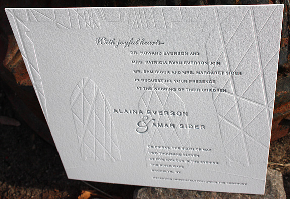 Alaina and Amar:  Fulton Street, invitation letterpress printed in pewter and inkless