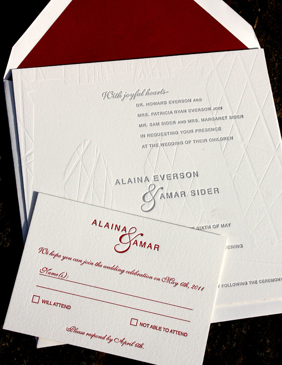 Alaina and Amar:  Fulton Street, letterpress printed in pewter, cranberry and inkless, with red lined envelopes