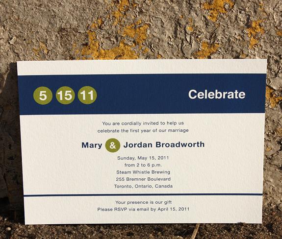 Mary and Jordan: Columbus Circle, anniversary invitation digitally printed in navy and willow