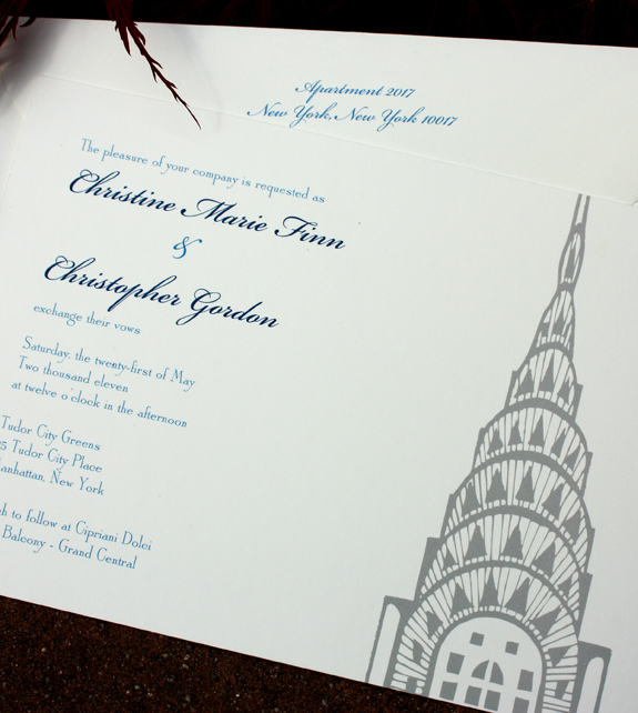 Christine and Christopher: Lexington Avenue, digitally printed in royal, navy and pewter with white envelope