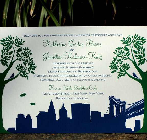 Katherine and Jonathan: Montague St. - Apt. B, invitation digitally printed in deep green and navy