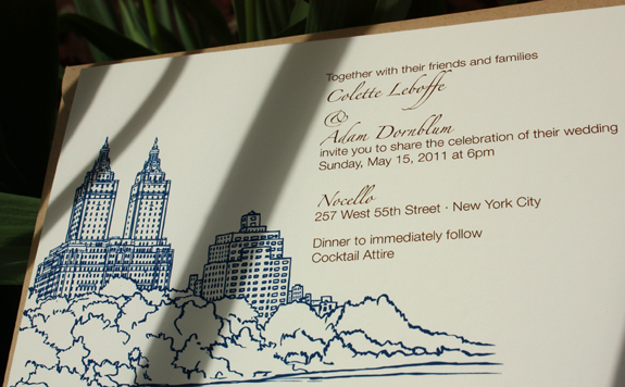 Colette and Adam: San Remo, digitally printed in navy and espresso inks with paper bag envelopes