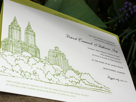 Katharine and Patrick: San Remo, digitally printed in willow and black with chartreuse envelope