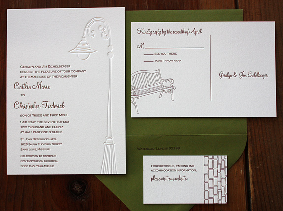 Caitlin and Christopher: York Street, suite in chocolate and inkless letterpress, moss envelope