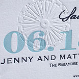 Jenny and Matt: custom designed travel save the date. letterpressed in 2 colors and blind debossed image, 100% cotton paper