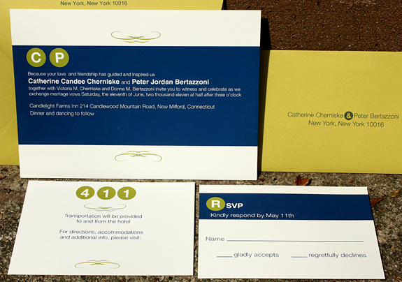 Catherine and Peter: Columbus Circle, invitation suite digitally printed in navy and willow with charteuse envelopes