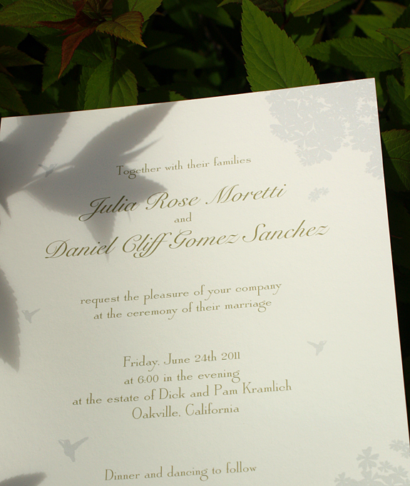 Julia and Daniel:  invitation detail