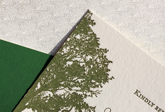 Fiona and John:  detail, envelope liner, card, invitation backer