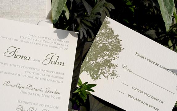 Fiona and John:  invitation and reply card