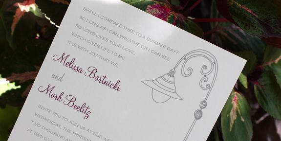 Melissa and Mark: invitation detail