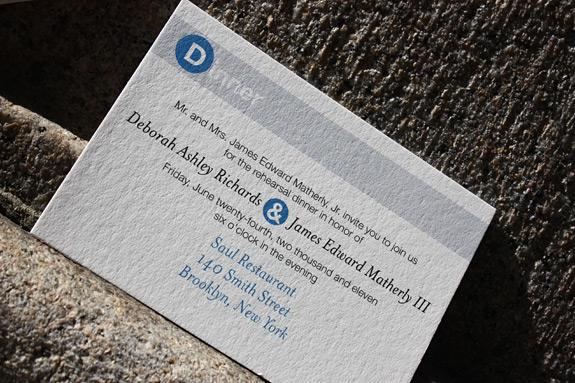 Deborah and James: reception card