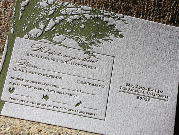 Mary and Andrew: rsvp card