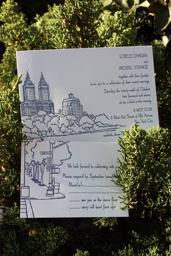 Lorelei and Michael: wedding invite and reply card