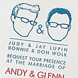 Andy and Glenn: invites and reply letterpressed, customer silhouette design, menu and program digitally printed to match, same sex wedding