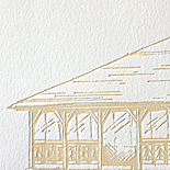 Annie and Thomas: custom illustration of The Pond Pavillion, letterpressed, 2 color, woodgrain printed liner
