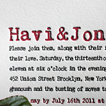 Havi and Jon: letterpressed, distressed typewriter font, 2 ink colors
