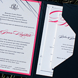Julia and Jean: custom designed, letterpressed, 2 color layered with pocket folder and hand-drawn map, custom monogram