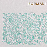 Kristina and Tim: two color letterpress save the date with rounded corners, vintage monogram and vine detail