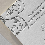 Stephanie and Mark: letterpressed one color in charcoal grey swirl design with dusty pink liner
