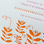 Gemma: two color letterpress printed Bat Mitzvah invitation with floral motif