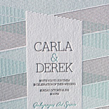 Carla and Derek: two color retro optic design, letterpress printed