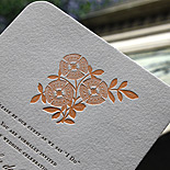 Dorothy and Noland: wedding invitation, letterpress printed in two colors with rounded edges