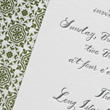 Gabrielle and Daniel: one color letterpress on bamboo paper with custom printed patterned liner