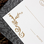 Jennifer and Abel: two color lettrepress in printed navy metallic pocket folder